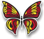 Ornate Butterfly Wings Design With Northumberland County Flag Motif Vinyl Car Sticker 100x85mm